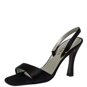Prada Black Satin Ankle Strap Sandals Size 40.5
