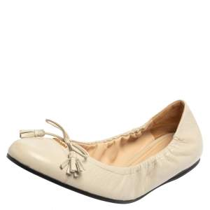 Prada White Leather Fringe Bow Logo Scrunch Ballet Flats Size 41
