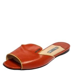 Prada Orange Patent Saffiano Leather Flat Slides Size 37