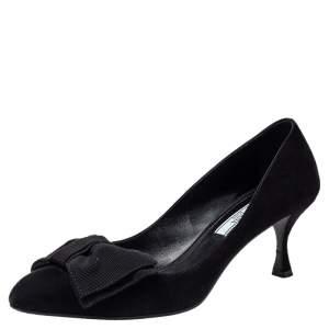حذاء كعب عالى برادا مقدمة مدببة فيونكة سويدى أسود مقاس 38