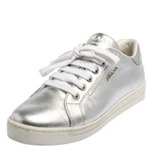 Prada Metallic Silver Leather Low Top Sneakers Size 37