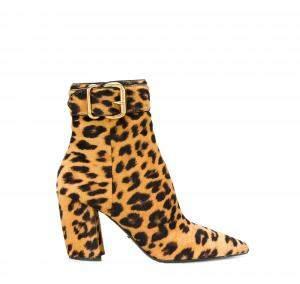 Prada Leopard Print Pony Hair Block Heel Ankle Boots Size 37