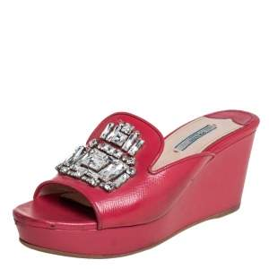 Prada Red Patent Leather Crystal Embellishment Wedge Sandals Size 38