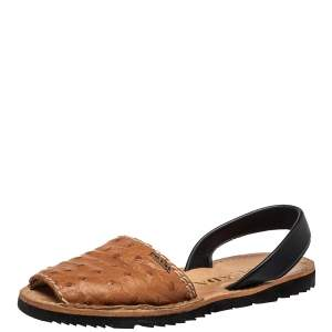 Prada Tan Ostrich And Leather Slingback Sandals Size 37