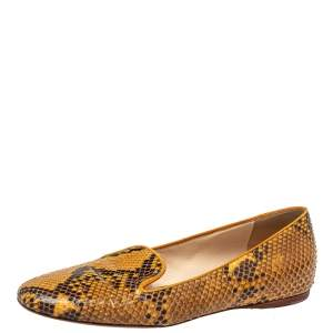 Prada Two Tone Python Smoking Slippers Size 39