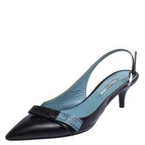 Prada Black Leather Bow Slingback Sandals Size 36.5