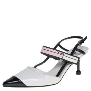 Prada White/Black Leather Cap Toe Slingback Sandals Size 36