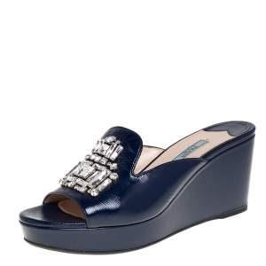 Prada Blue Patent Leather Crystal Embellished Wedges Size 40