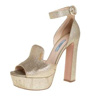 Prada Gold Glitter Ankle Strap Block Heel Platform Sandals Size 38.5