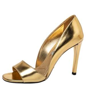 Prada Metallic Gold Patent Leather Peep Toe Pumps Size 36