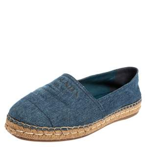 Prada Blue Denim Canvas Espadrille Flats Size 41