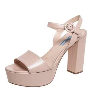 Prada Beige Patent Saffiano Leather Block Heel Platform Ankle Strap Sandals Size 40