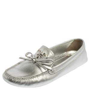 Prada Silver Saffiano Leather Driver Loafers Size 40
