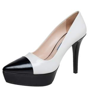 Prada Monochrome Leather Pointed Toe Platform Pumps Size 35.5