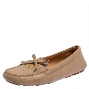 Prada Beige Leather Slip On Loafers Size 37.5