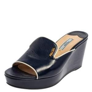Prada Blue/White Patent Leather Wedge Slide Sandals Size 37