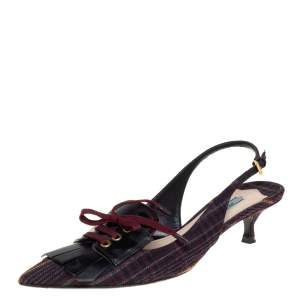 Prada Multicolor Canvas and Leather Fringe and Lace Detail Slingback Sandals Size 40.5
