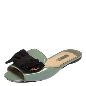 Prada Grey/Black Patent Leather Bow Mules Sandals Size 39