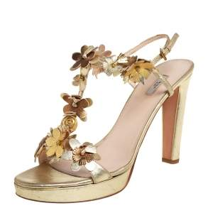 Prada Gold Leather Floral T-Strap Sandals Size 40.5