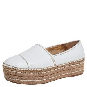 Prada White Leather Platform Espadrilles Size 38