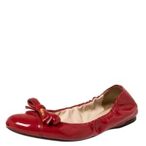 Prada Red Patent Leather Bow Scrunch Ballet Flats Size 38