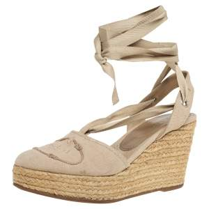 Prada Beige Canvas Espadrille Ankle Wrap Wedge Sandals Size 37
