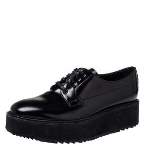 Prada Black Leather Lace Up Platform Derby Size 38