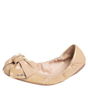 Prada Beige Patent Leather Bow Logo Scrunch Ballet Flats Size 39