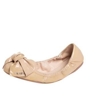 Prada Beige Patent Leather Bow Logo Scrunch Ballet Flats Size 39