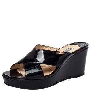 Prada Black Patent Leather Cross Strap Wedge Sandals Size 39