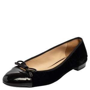 Prada Black Velvet And Patent Leather Cap Toe Ballet Flats Size 38.5