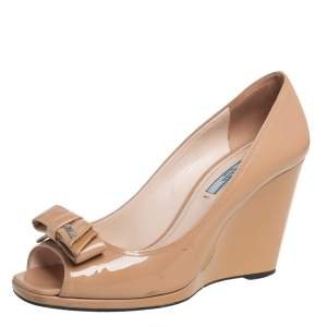 Prada Beige Patent Leather Bow Wedge Peep Toe Pumps Size 39.5