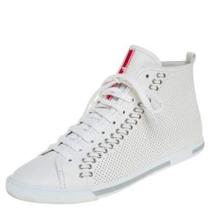 Prada White Perforated Leather High Top Sneakers Size 39