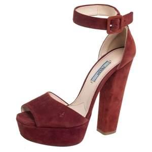 Prada Brown Suede Platform Ankle Strap Sandals Size 39.5