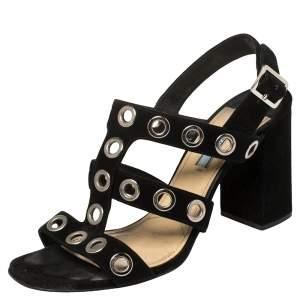Prada Black Suede Grommet Block Heel Sandals Size 38