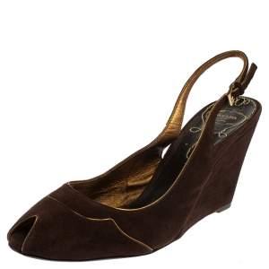 Prada Brown Suede Wedge Peep Toe Sandals Size 41