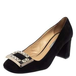 Prada Black Suede Block Heel Pumps Size 37.5
