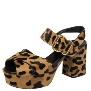 Prada Brown/Beige Leopard Print Calf Hair Criss Cross Platform Ankle Strap Sandals Size 39.5