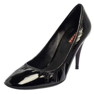 Prada Black Patent Leather Scrunch Pointed Toe Pumps Size 39.5