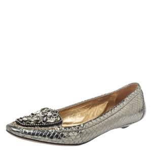 Prada Metallic Silver Snakeskin Embossed Leather Embellished Loafers Size 39