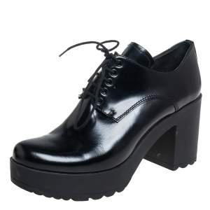 Prada Black Leather Ankle Length Booties Size 37.5