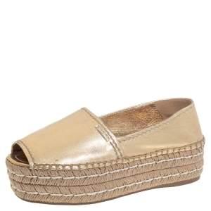 Prada Metallic Gold Leather Peep Toe Platform Espadrilles Size 36