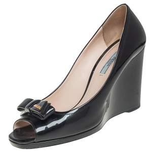 Prada Black Patent Leather Bow Peep Toe Wedge Pumps Size 41