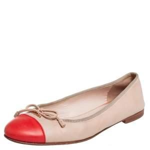 Prada Beige/Orange Leather Cap Toe Bow Ballet Flats Size 39.5