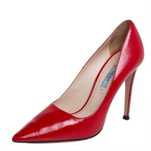 Prada Red Leather Pointed Toe Pumps Size 38