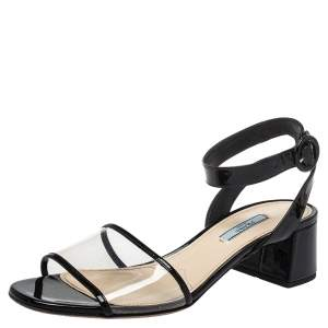 Prada Black Patent Leather And PVC Open Toe Sandals Size 39.5