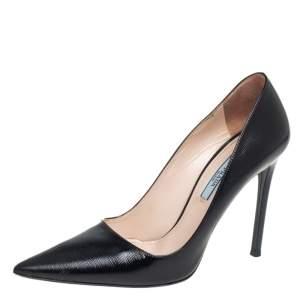 Prada Black Patent Saffiano Leather Pointed Toe Pumps Size 37.5