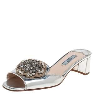 Prada Silver Patent Leather Embellished Block Heel Slide Sandals Size 36