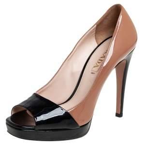 Prada Brown/Black Patent Leather Peep Toe Pumps Size 37