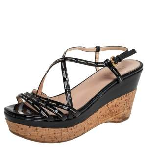Prada Black Patent Leather Strappy Wedge Sandals Size 40.5